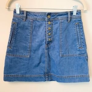 Free People Button Up Jean Skirt with Pockets 25